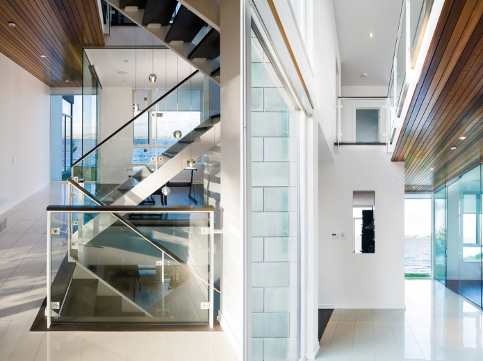 Chris Simmonds glass staircase and river views of Ottawa River House