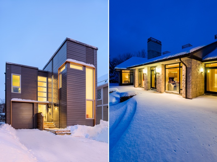 residential exterior photographs in winter with snow - Andrew Reeves & Barry Hobin