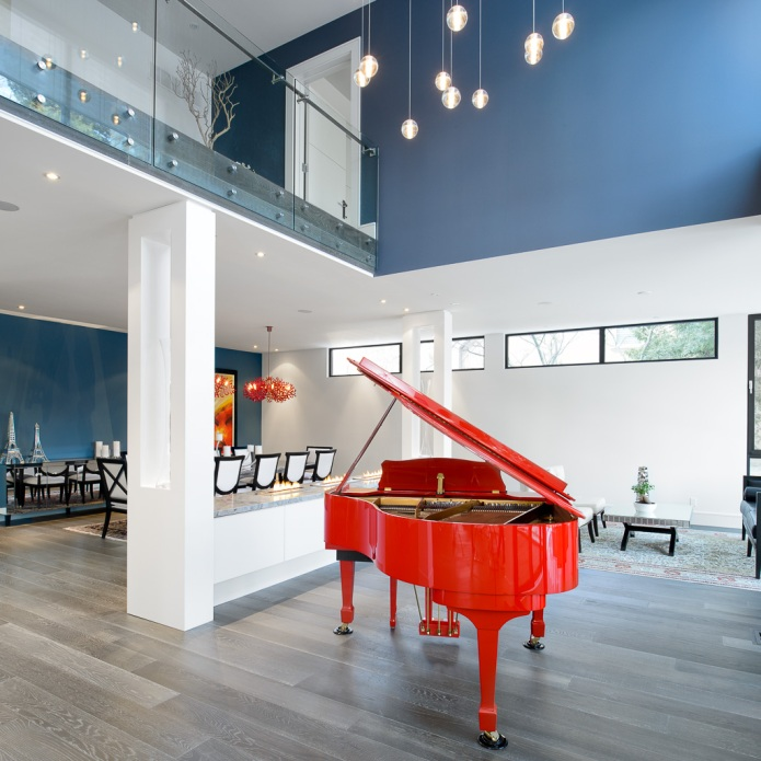 red piano home interior design photography toronto