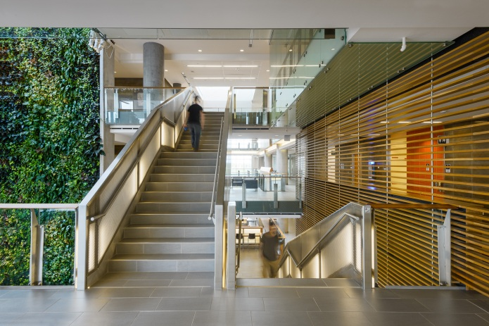 The main stair case and lobby area - University of Ottawa Faculty of Sciences by Diamond Schmitt Architects
