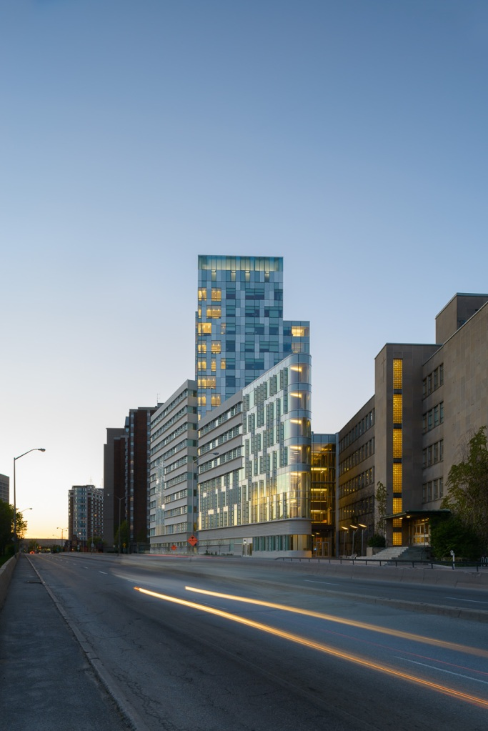 The South Western Facade at Dusk - University of Ottawa Faculty of Sciences by Diamond Schmitt Architects