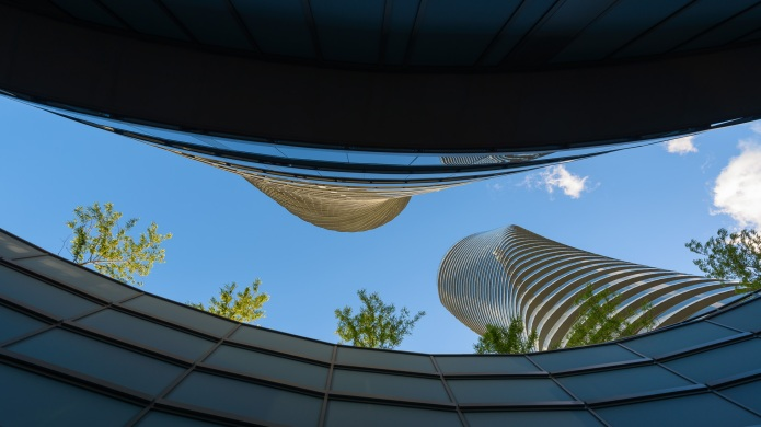 View from below: MAD architects Marilyn Monroe Mississauga Absolute Towers at sunset