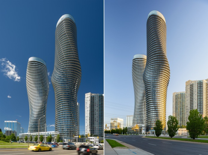 MAD architects Marilyn Monroe Mississauga Absolute Towers in midday and early morning