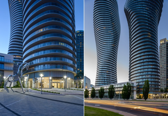 MAD architects Marilyn Monroe Mississauga Absolute Towers at dusk