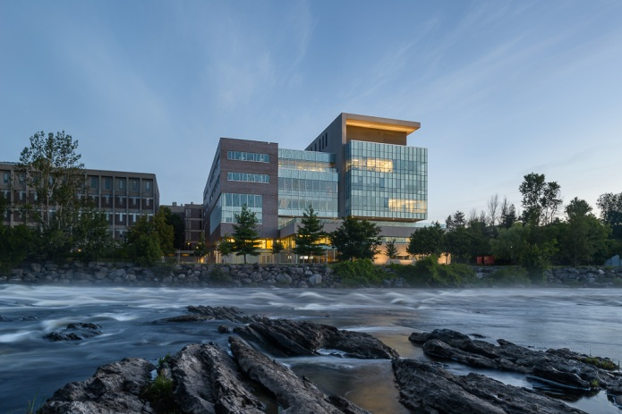 carleton university river building at dusk by Moriyama Teshima GRC architects