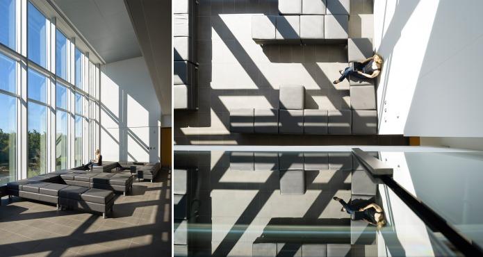 carleton university river building large south facing window and view by Moriyama Teshima GRC architects