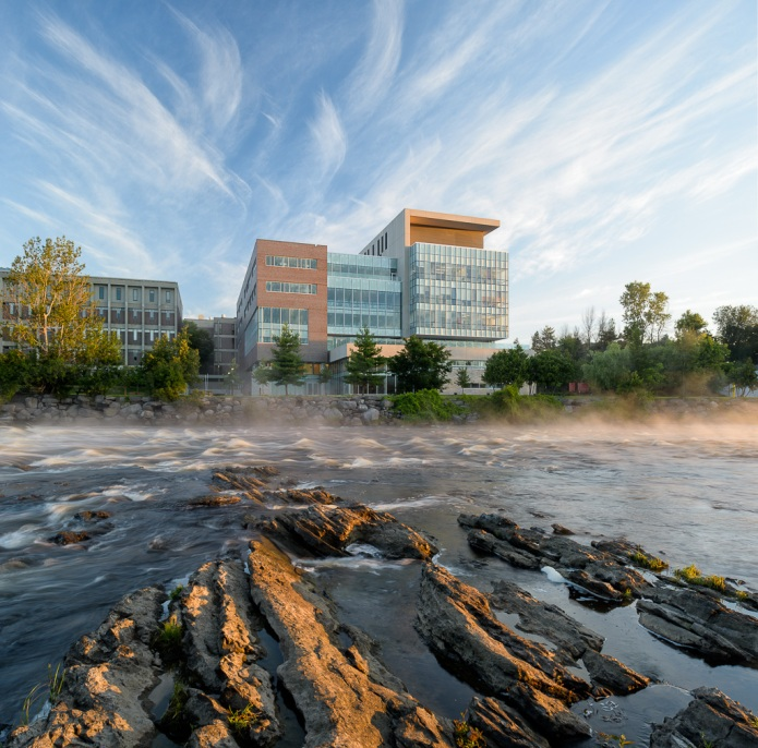 carleton university river building at sunrise by Moriyama Teshima GRC architects