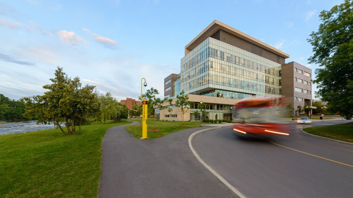 Exterior view of the Facade  of the Carleton University River Building by Toronto Architects Moriyama & Teshima and GRC