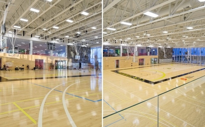 architectural photography of centennial college athletic centre in toronto - interior basketball court