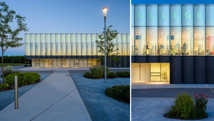 architectural photography of centennial college athletic centre in toronto at dusk