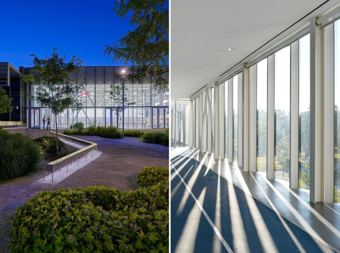 architectural photography of the interior and exterior of centennial college athletic centre in toronto at dusk