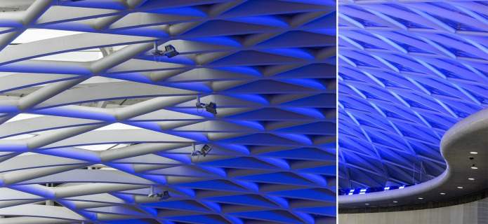 Detail of the ceiling and blue light show at London's King's Cross Train Station by McAslan and Partners