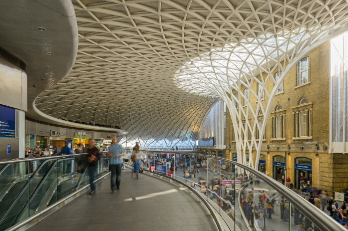 Overall view from the upper level at London's King's Cross Train Station by McAslan and Partners