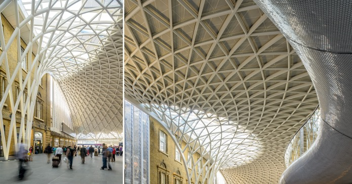 Travelers, overall view and Detail of the ceiling at London's King's Cross Train Station by McAslan and Partners