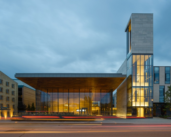 North Entrance at dusk at the Centre for International Governance Campus in Waterloo - KPMB Architects