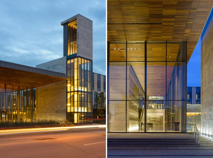 Detail of the North Entrance at dusk at the Centre for International Governance Campus in Waterloo - KPMB Architects