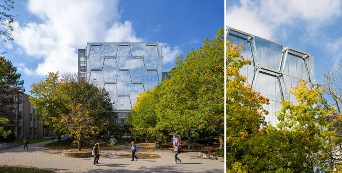 3-KPMB Quantum-Nano Centre Waterloo Doublespace Toronto Architectural Photography blue sky daylight exterior fall