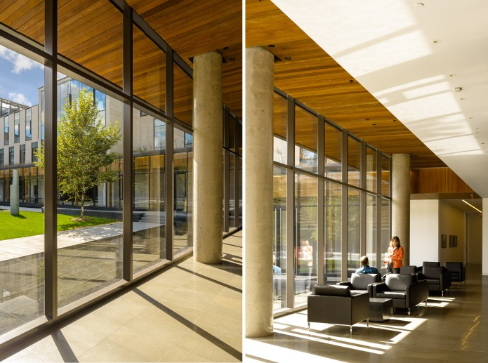 Corridor and sitting area at midday   at the Centre for International Governance Campus in Waterloo - KPMB Architects