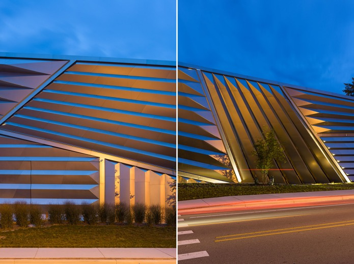 Detail of Zaha Hadid Broad Museum at dusk, East Lansing Michigan