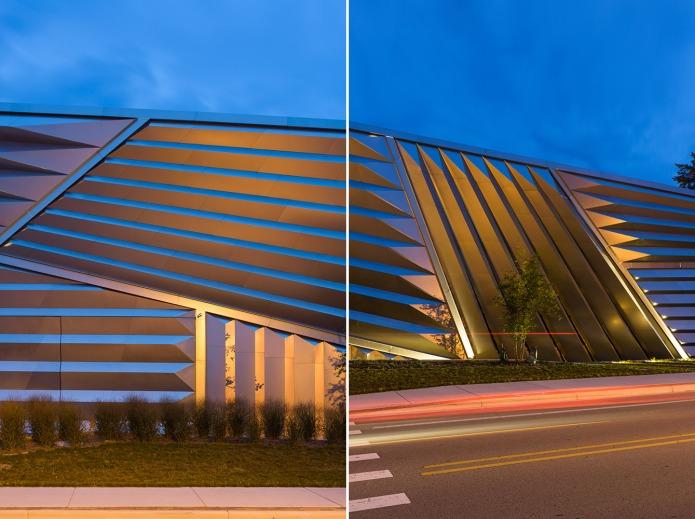Detail of Zaha Hadid Broad Museum at dusk, East Lansing Michigan