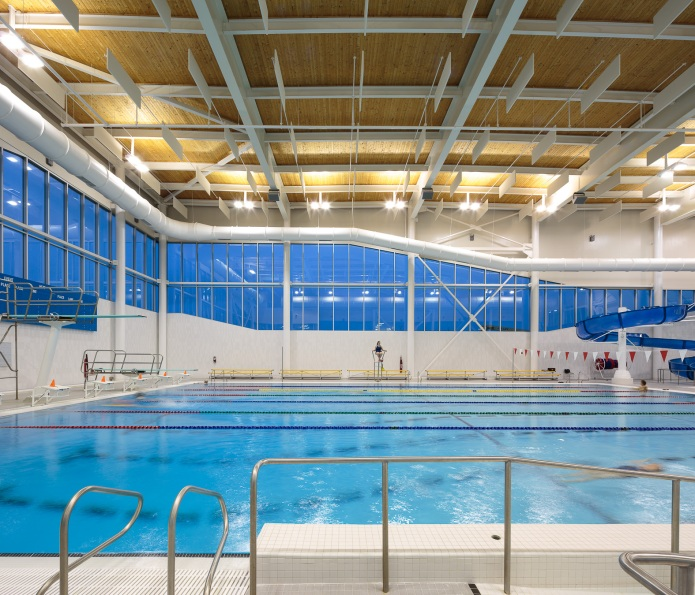 Rath Eastlink Truro Perkins Will doublespace architecture photography swimming pool at dusk