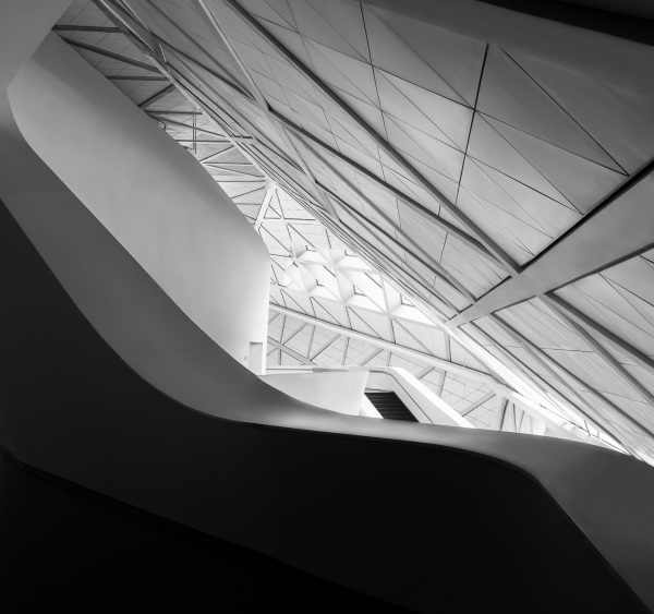 Abstract detail of the interior of the Guangzhou Opera House designed by Zaha Hadid