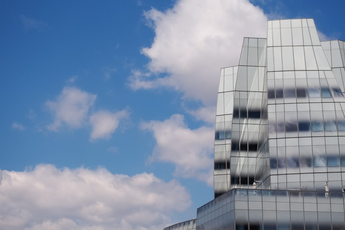 Frank Gehry's creation towers over the Highline in NYC