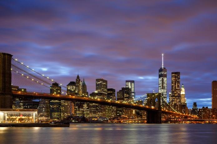 Manhattan and Brooklyn Bridge at dusk from DUMBO Park