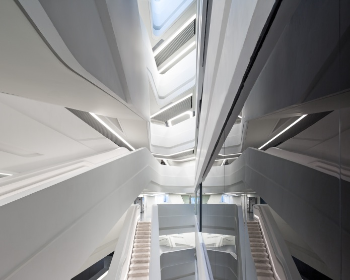 The main feature stair case inside the Innovation Tower at the Hong Kong PolyTechnic University, designed by Zaha Hadid