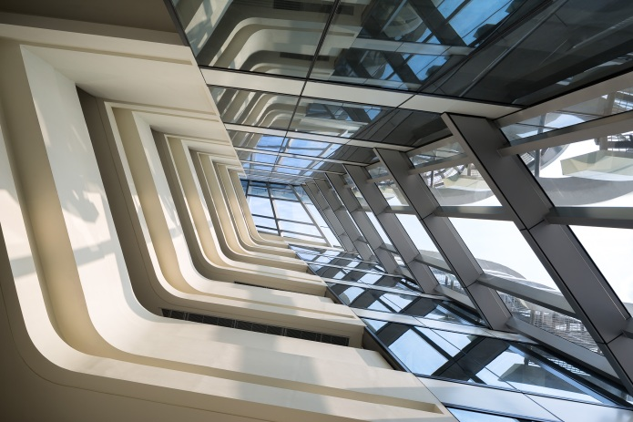 Sun streaming into the atrium of Zaha Hadid's Innovation Tower in Hong Kong