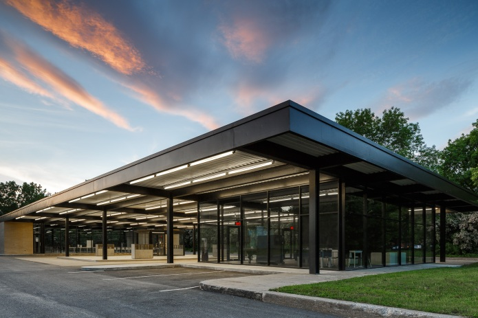 FABG architectes converted this old Mies van der Rohe gas station into a youth and senior centre