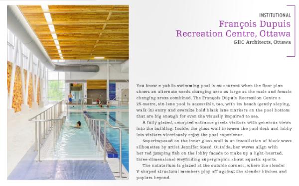 Canadian Interiors Magazine names Francois Dupuis Rec Centre best interior in 2014