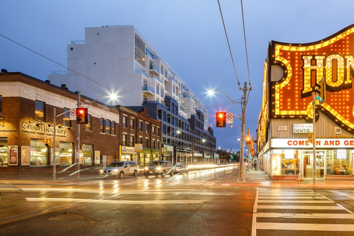 b streets condos by Hariri Pontarini are just across the street from Honest Ed's, a toronto institution