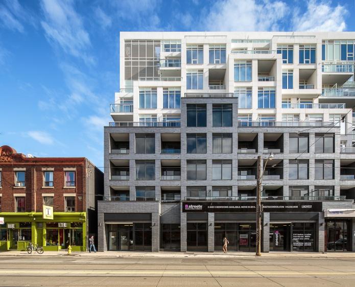 Main elevation of b streets condos in Toronto