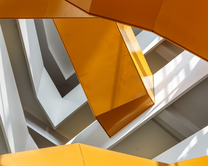 detail of the central staircase at the Anne-Marie Edward Science Building