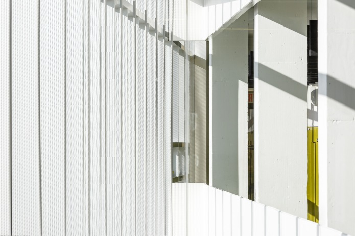 Abstract detail of the 4th floor interior balcony