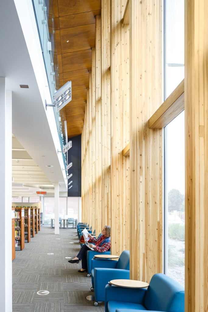 Double height circulation and reading areas
