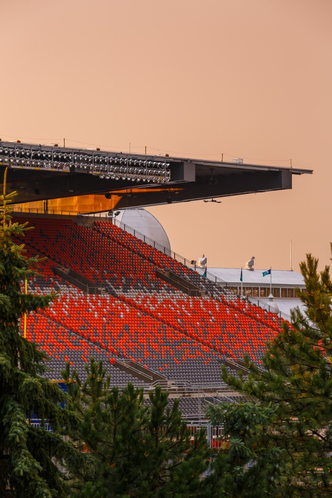 Closeup view of the bleachers at lansdowne stadium at sunset