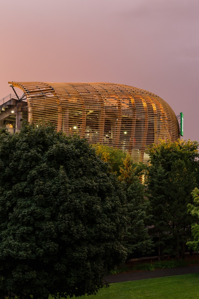 Lansdowne stadium's Bird's Nest glowing in sunset light
